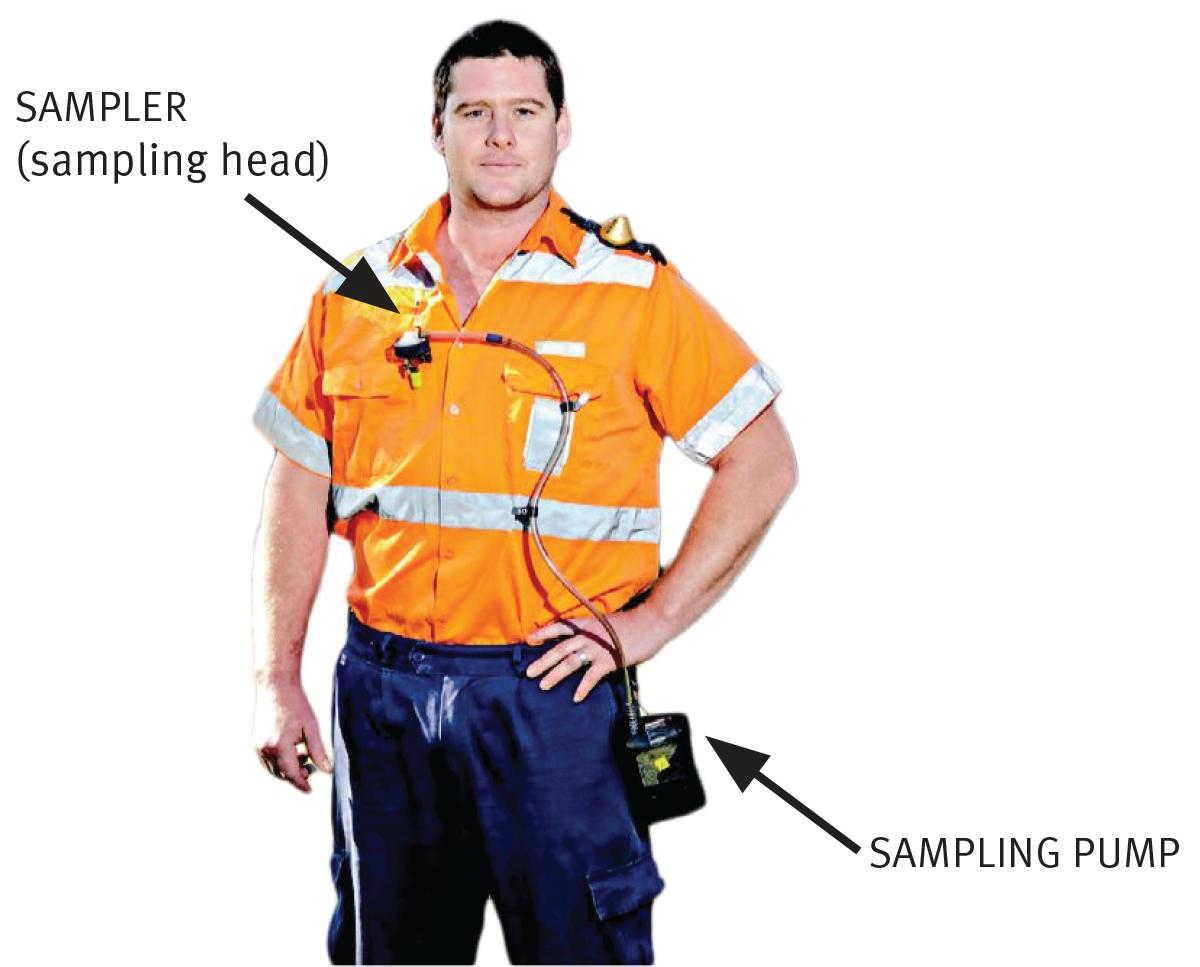 worker wearing dust sampling apparatus